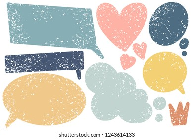 Hand drawn callout clouds and various shapes for backdrops. Vector textured multi color elements for designs. Simple textured backgrounds in speech bubble shapes.