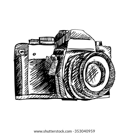 Hand Drawn Camera Vector Illustration Stock Vector Royalty Free
