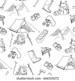 Hand drawn camping elements. Various adventure stuff. Graphic vector seamless pattern