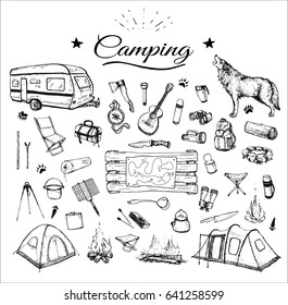 hand drawn camping isolated attribute set with contours of tent, trailers, ax, map, bonfire etc