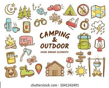 Hand drawn camping and outdoor recreation elements, isolated on white background. Cute background full of icons perfect for summer camp flyers and posters. Vector illustration.