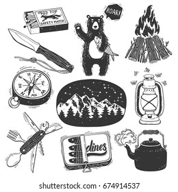 Hand drawn camping set.  Camp bonfire, vintage lantern, camper knife, teapot, compass,sardine can, cute teddy bear with fish, landscape with mountains and star constellation, matchbox.