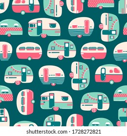 Hand drawn camping trailers, mobile home seamless pattern on blue green background. Hand drawn flat vector illustration in cartoon style.
