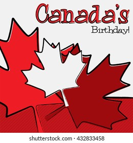 Hand drawn Canada Day card in vector format.