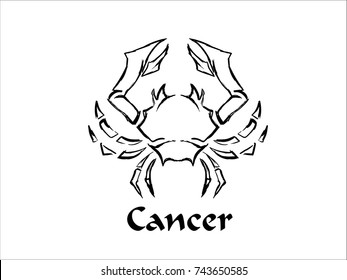 Hand Drawn Cancer Zodiac Sign in Sketch and line art