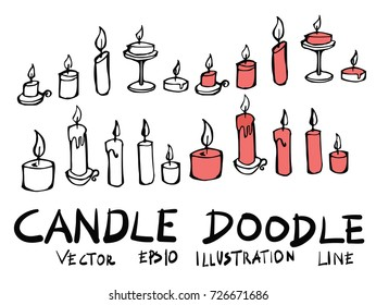 Hand drawn candle isolated. Vector sketch black and white background illustration icon doodle