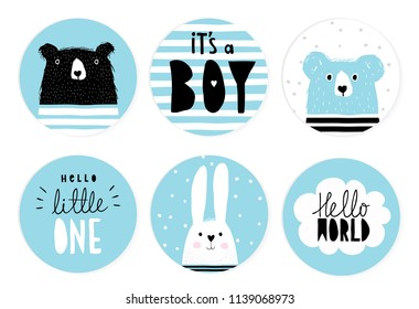 Hand Drawn Candy Bar Baby Shower Vector Tags.Blue and White Circle Shape Sticker.White and Blue Bunnies, Black Big Bear on a White and Blue Background. Handwritten It's a Boy and Hello Little One.