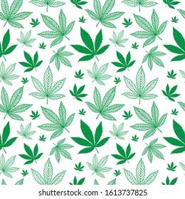 Hand drawn cannabis leaves seamless background. Hemp leaves endless pattern. Marijuana sketch drawing seamless texture. Part of set.