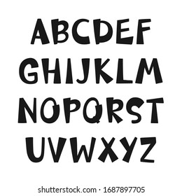 Hand drawn capital alphabet set. Isolated vector letter symbols in childish cartoon style on white background.