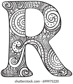 Hand Drawn Capital Letter R In Black