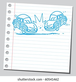 Hand drawn car crash