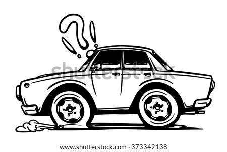 Royalty Free Cartoon Of The Flat Tire Funny Clip Art ...  Flat Tires Cartoon Hands