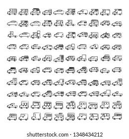 hand drawn car, vehicle icons set