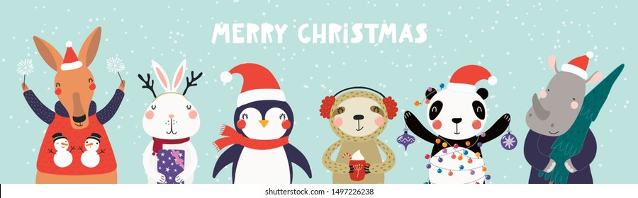 Hand drawn card, banner with cute animals in Santa Claus hats, sparklers, tree, gifts, ornaments, text Merry Christmas. Vector illustration. Scandinavian style flat design. Concept kids print, invite.