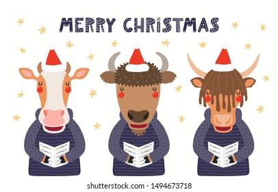 Hand drawn card with cute cow, bison, yak singing carols, with quote Merry Christmas. Vector illustration. Isolated objects on white background. Scandinavian style flat design. Concept for kids print.