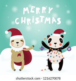 Hand drawn card with cute funny sloth, panda in Santa Claus hats, with sack, decorations, lights, text Merry Christmas. Vector illustration. Scandinavian style flat design. Concept for children print.