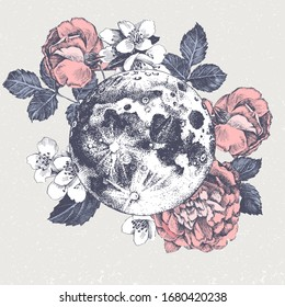 Hand drawn card with full moon and sketched flowers. Vector illustration. Great for your invitations, textile or wedding designs