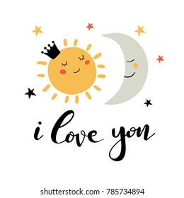 Hand drawn card with lettering for Valentine's day or wedding.  Cute doodle illustration about love: sun, moon, stars, universe, cosmic. Design for prints and cards.