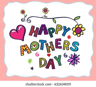 Hand Drawn card for Mother's Day. Vector illustration.