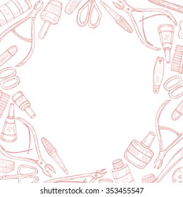 Hand drawn card template with manicure tools including scissors, nail polish, nail clippers, pushers  and others.Vector