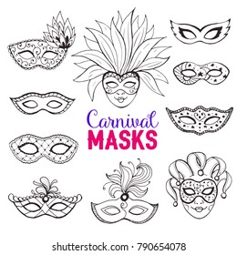 Hand drawn carnival masks collection in line art style. Masqeurade mask sketches for decorating festive invitations, banners, greeting cards.