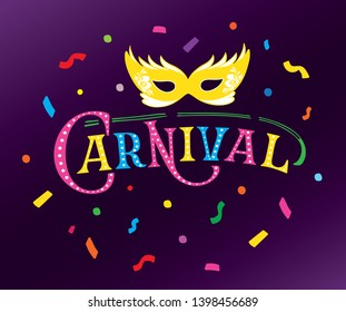 Hand drawn Carnival on dark violet background with confetti and mask. Lettering logotype, badge, icon. Party, masquerade poster, card, invitation. Vector lettering. Celebration calligraphy banner.