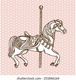 Hand drawn carousel horse. Polka dot background