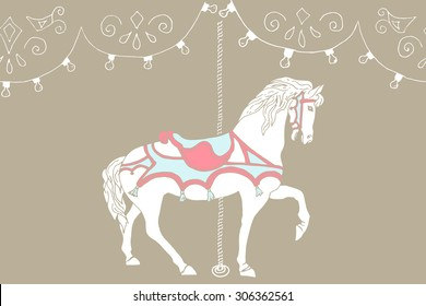 Hand drawn carousel horse. Vector illustration