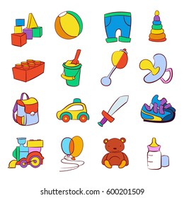 Hand drawn cartoon baby toys vector set