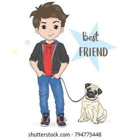 Hand drawn cartoon boy with dog pug. Vector illustration.