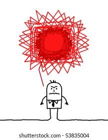 hand drawn cartoon character - angry man