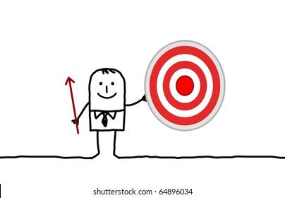 hand drawn cartoon character - businessman & target