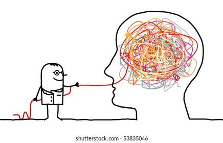 hand drawn cartoon character - doctor untangling a brain knot