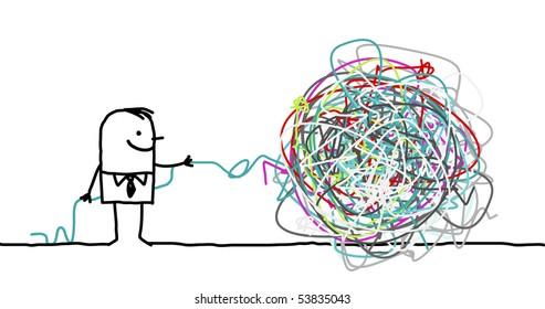 hand drawn cartoon character - man untangling a knot