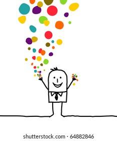 hand drawn cartoon character - man & confetti