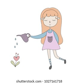 Hand drawn Cartoon Character Vector Illustration with lovely girl who take care about beautiful flower