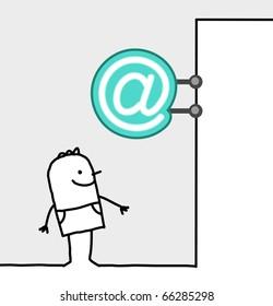 hand drawn cartoon characters - consumer & shop sign - internet
