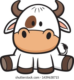Hand drawn cartoon cow isolated on white background