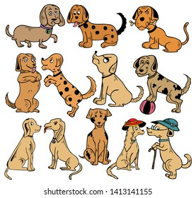 Hand Drawn Cartoon Dogs Vector Pack 01