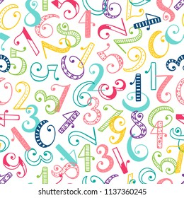 Hand drawn cartoon doodle Number seamless pattern. Colorful Latin alphabet numbers from 0 to 9 with different patterns. Mathematical background for kids. Back to school. Vector illustration