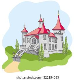 Hand drawn cartoon fairy tale castle icons, castle for princess doodle vector sketch, fairytale, game icon, cute magic castle kingdom illustration
