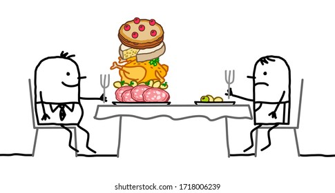 hand drawn Cartoon fat man with a pile of food in his plate, sitting front of a thin one with a small plate