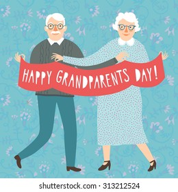 Hand drawn cartoon grandparents holding ribbon. Happy grandparents day poster. Vector illustration.