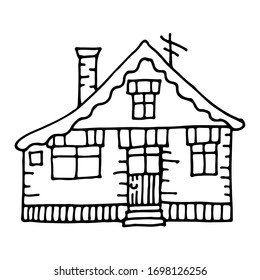 Hand drawn cartoon house. Children's illustration with stylized building. Vintage black and white outline vector illustration