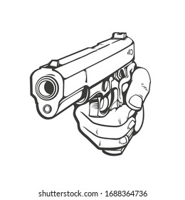 Hand drawn cartoon illustration of human hand with gun, weapon, comics vector illustration isolated on white background