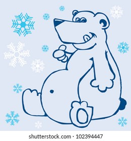 hand drawn cartoon illustration of a polar bear and snowflakes on blue background