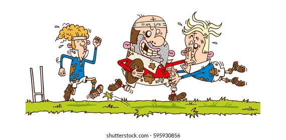 Hand drawn cartoon illustration of rugby match