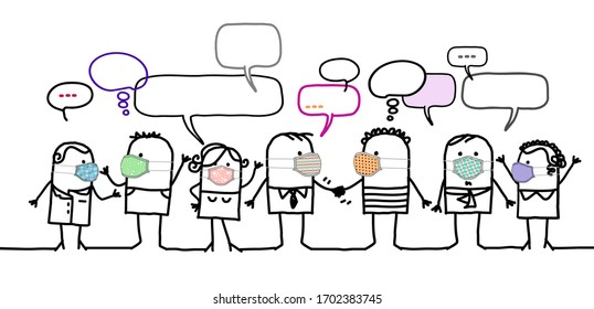 Hand drawn Cartoon people with protection masks and social network