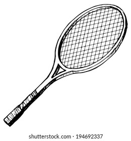 hand drawn, cartoon, sketch illustration of tennis bat