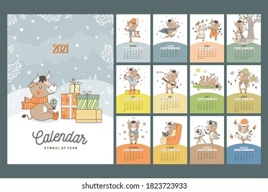 Hand drawn cartoon style calendar 2021 with bull symbol of the year. Monthly bulls for all seasons. Poster for print ready.